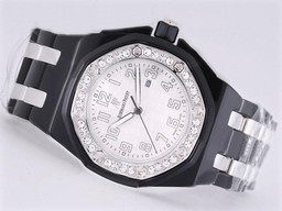 Fake Modern Audemars Piguet Royal Oak 30th Anniversary Black Ceramic Diamond AAA klockor [ G6S6 ]