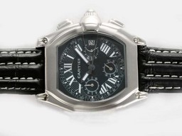 Fake Gorgeous Cartier Roadster Working Chronograph med svart urtavla - Deployment AAA klockor [ X6G6 ]