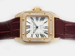 Fake Vintage Cartier Santos 100 Rörelse Med Gold Case Diamond AAA klockor [ D5I6 ]