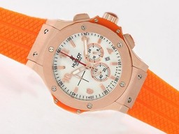 Fake Cool Hublot Big Bang Arbeta Chrono med Rose Gold Case / Orange Rubber Strap AAA klockor [ F7B8 ]