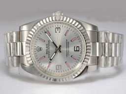 Fake Stora Rolex Air-King Automatisk med Silver Dial AAA Klockor [ L3B3 ]